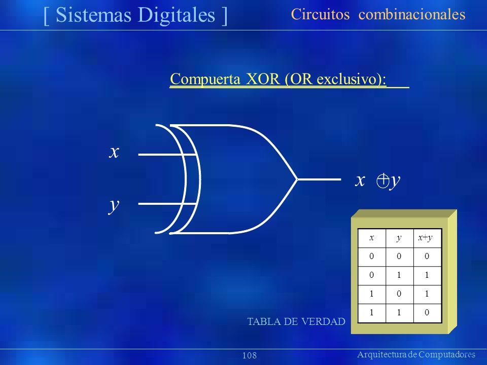 [ Sistemas Digitales ] x y Circuitos combinacionales